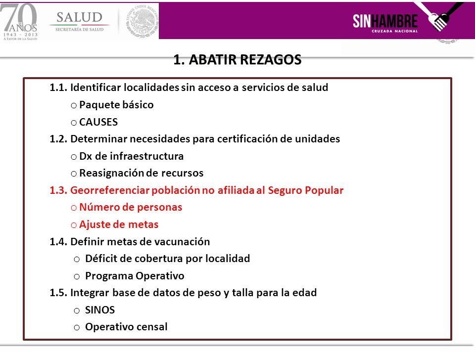 1. ABATIR REZAGOS 1.1. Identificar localidades sin acceso a servicios de salud. Paquete básico. CAUSES.