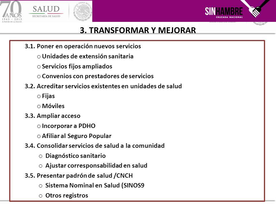 3. TRANSFORMAR Y MEJORAR 3.1. Poner en operación nuevos servicios