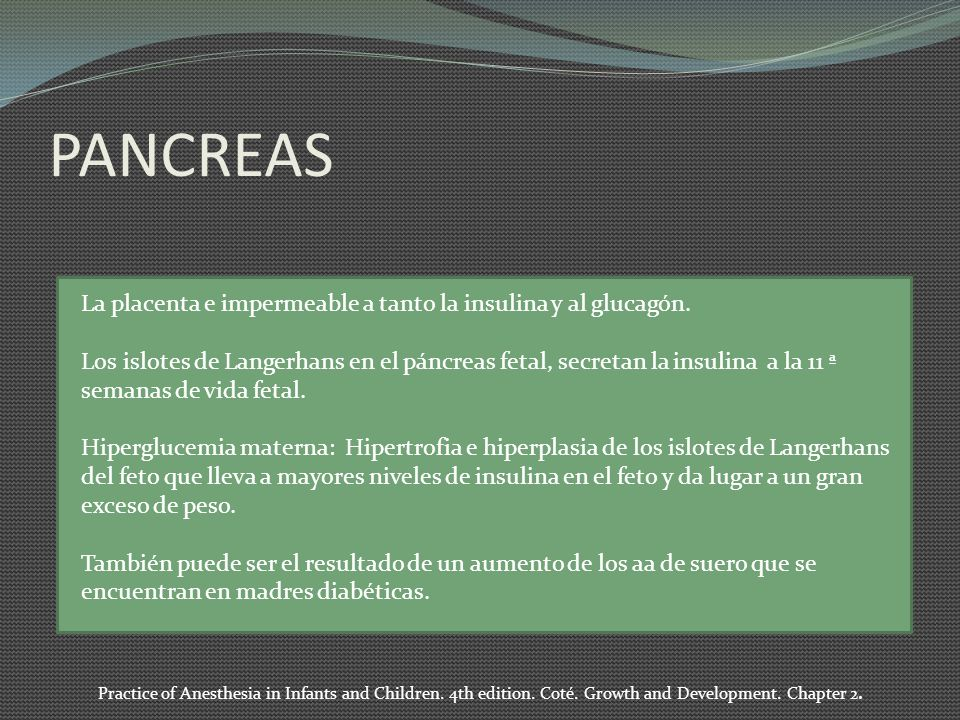PANCREAS La placenta e impermeable a tanto la insulina y al glucagón.