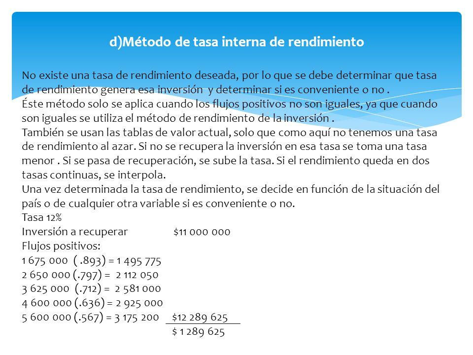 d)Método de tasa interna de rendimiento
