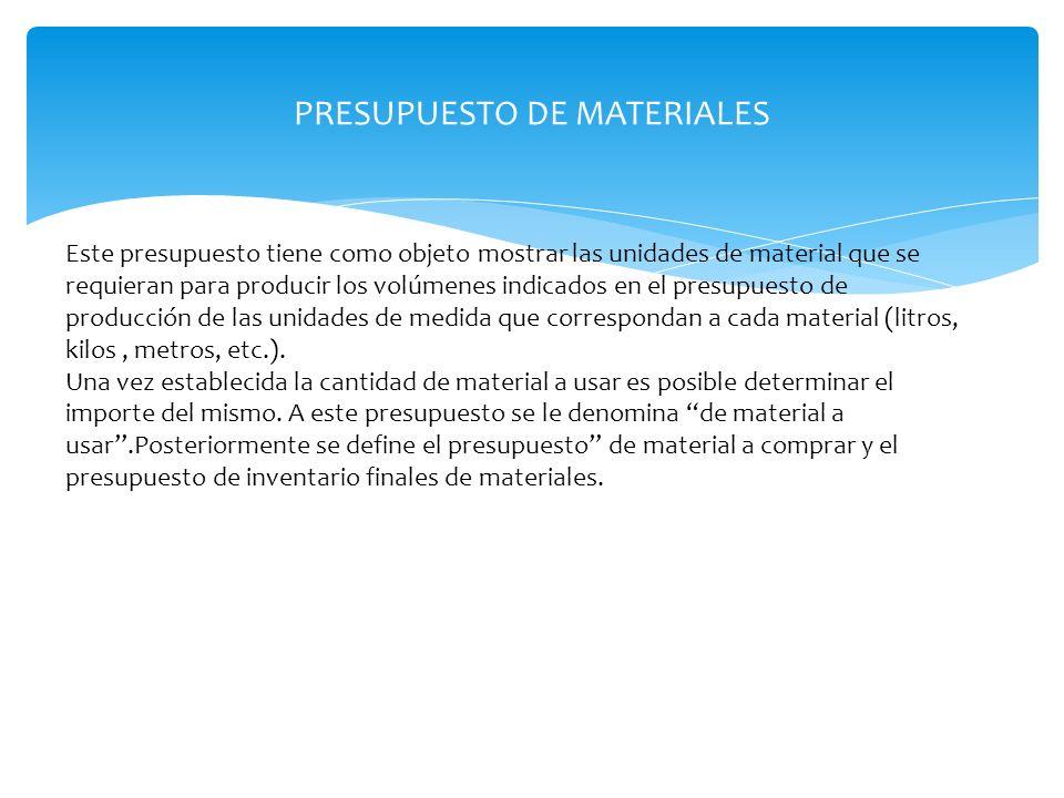 PRESUPUESTO DE MATERIALES