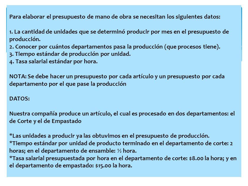 Para elaborar el presupuesto de mano de obra se necesitan los siguientes datos: 1.