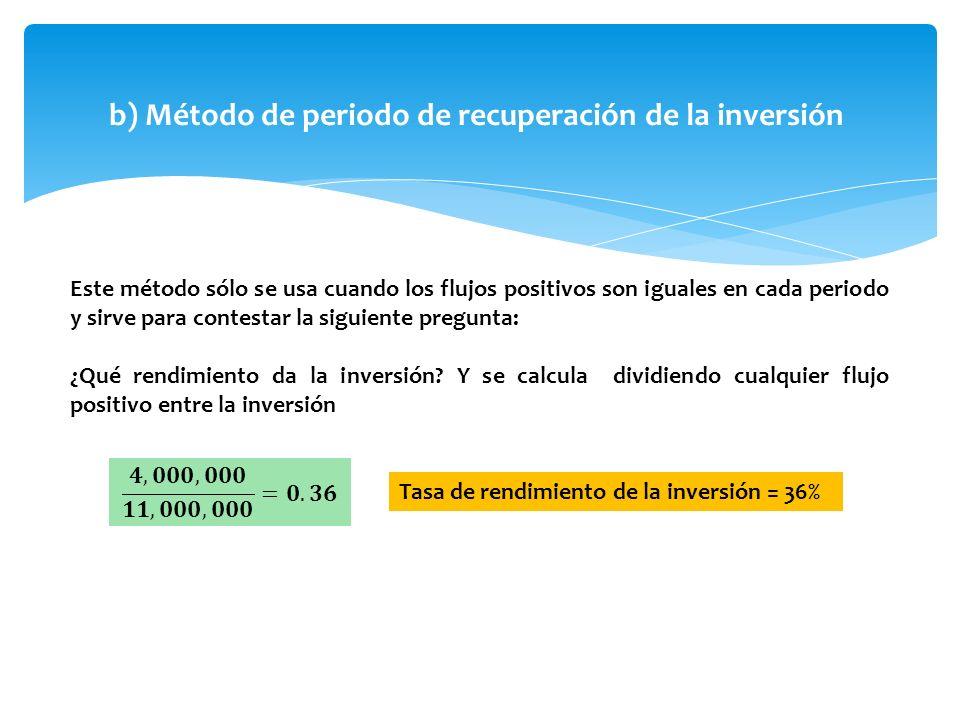 b) Método de periodo de recuperación de la inversión