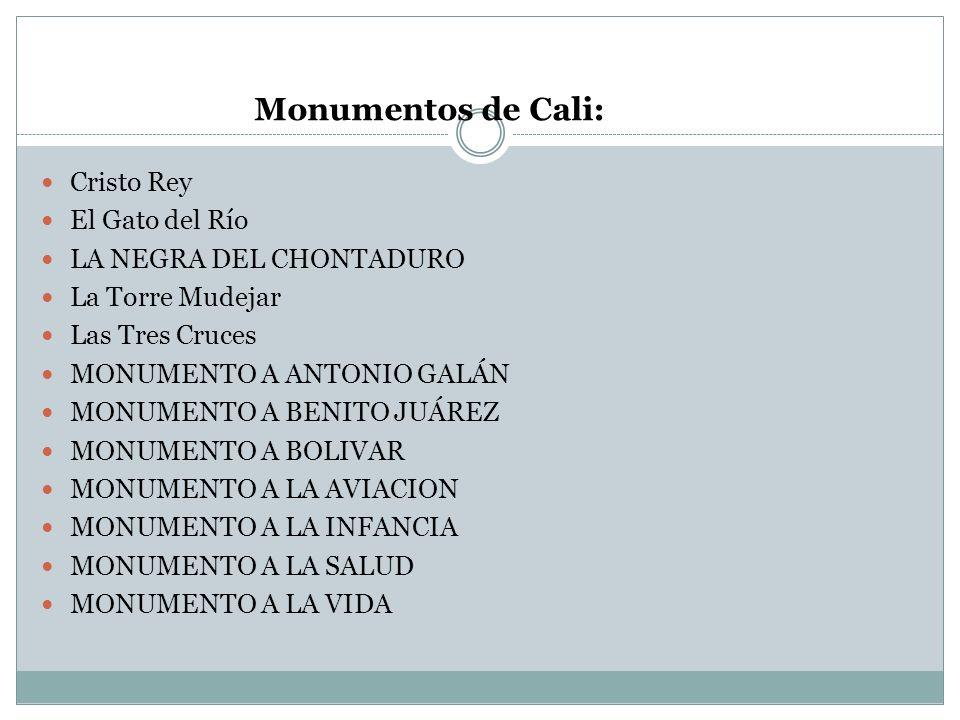 Monumentos de Cali: Cristo Rey El Gato del Río LA NEGRA DEL CHONTADURO