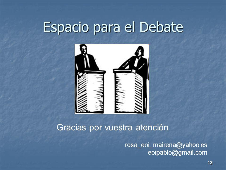 Espacio para el Debate Gracias por vuestra atención
