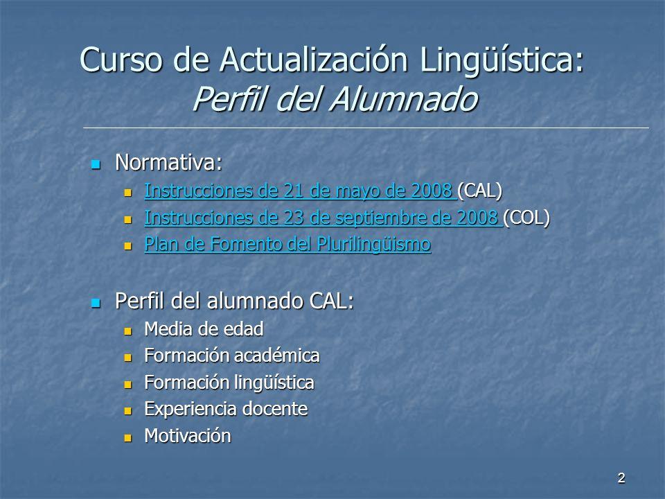 Curso de Actualización Lingüística: Perfil del Alumnado