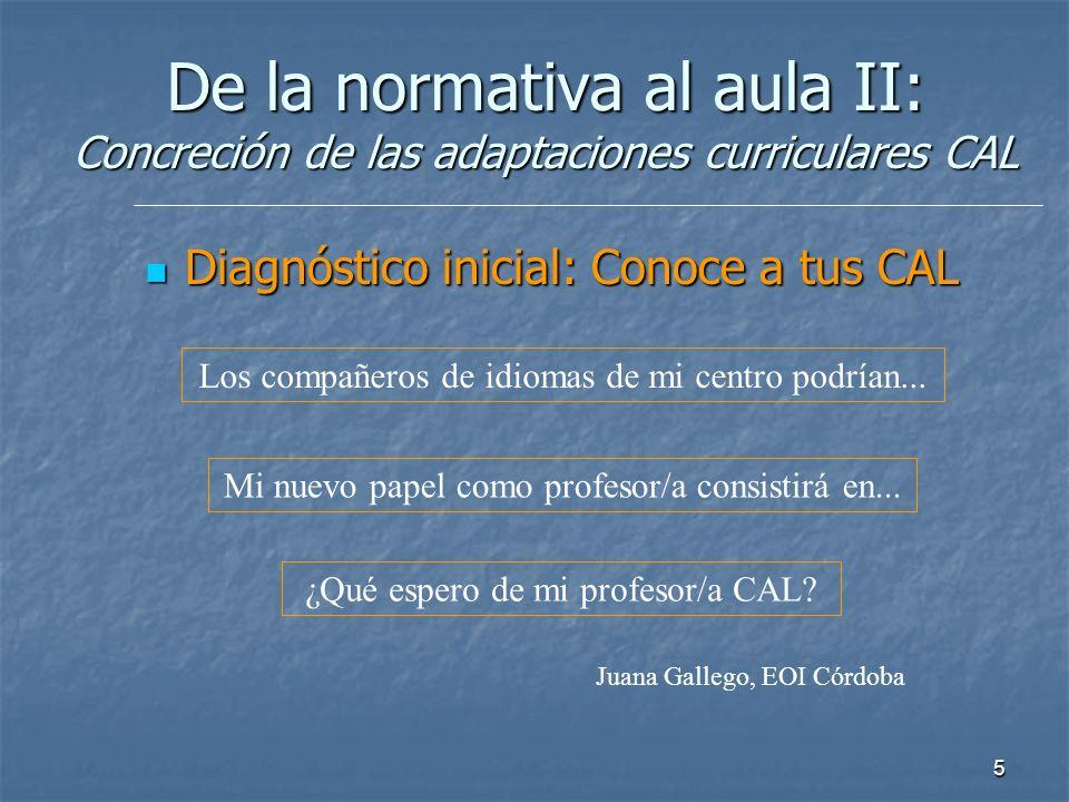De la normativa al aula II: Concreción de las adaptaciones curriculares CAL