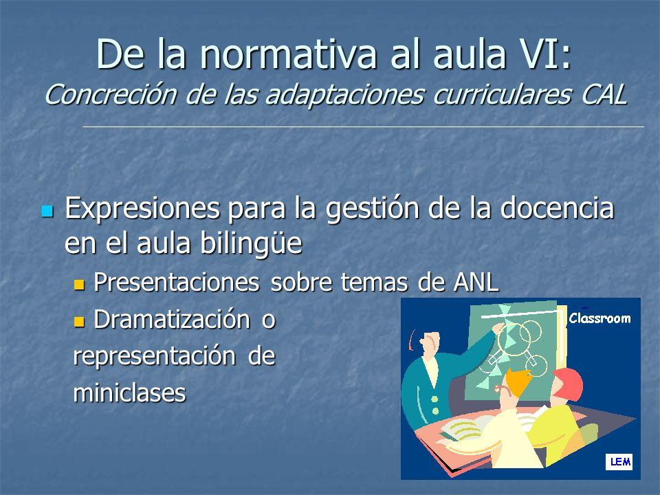 De la normativa al aula VI: Concreción de las adaptaciones curriculares CAL