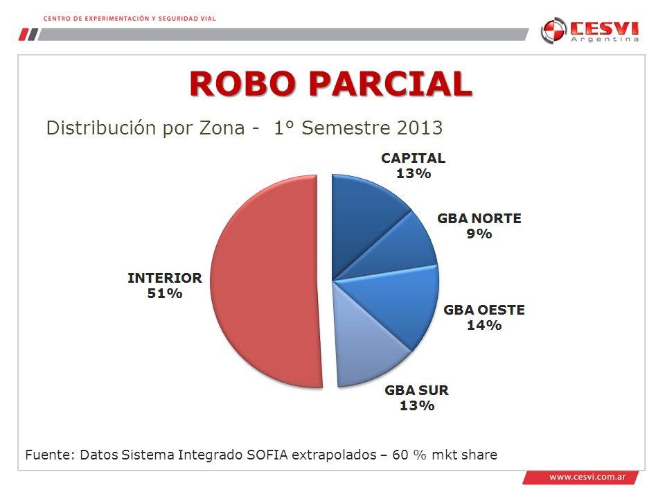 ROBO PARCIAL Distribución por Zona - 1° Semestre 2013