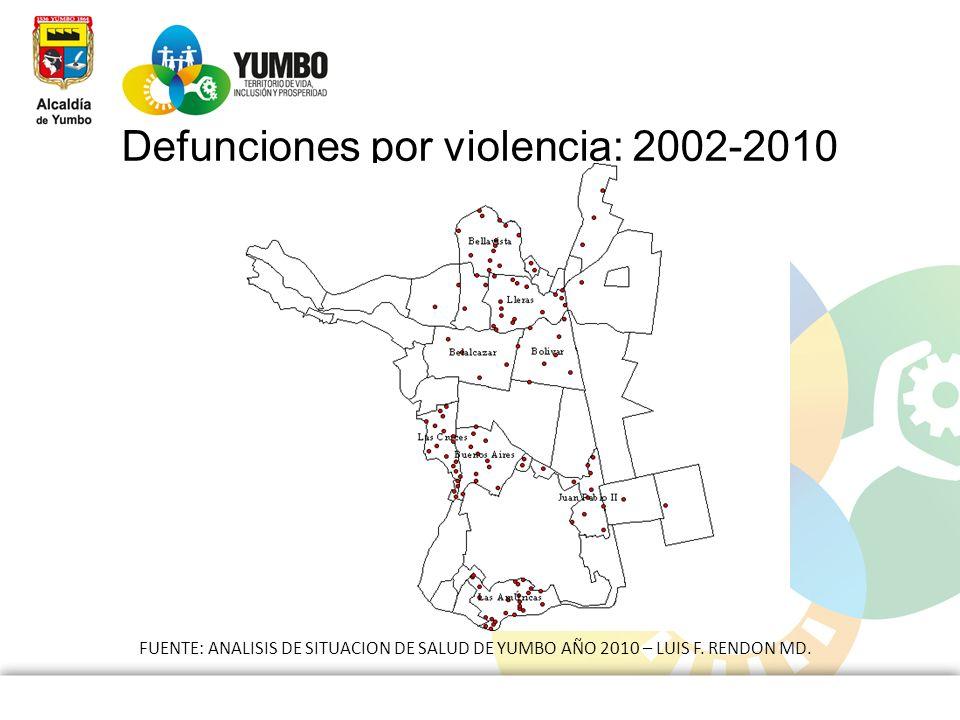 Defunciones por violencia: 2002-2010