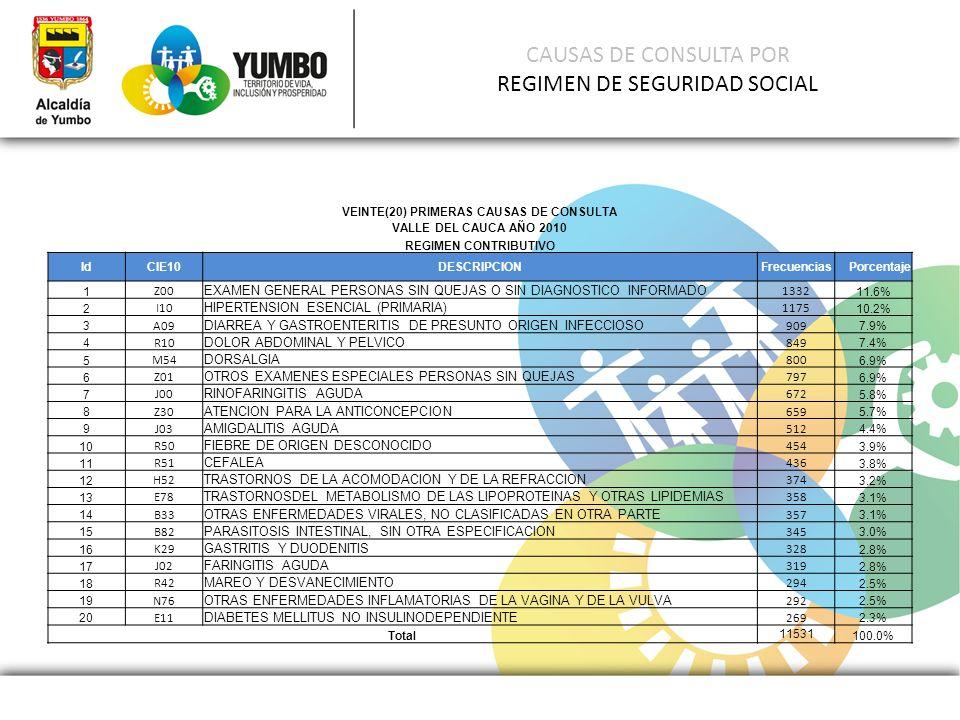 CAUSAS DE CONSULTA POR REGIMEN DE SEGURIDAD SOCIAL
