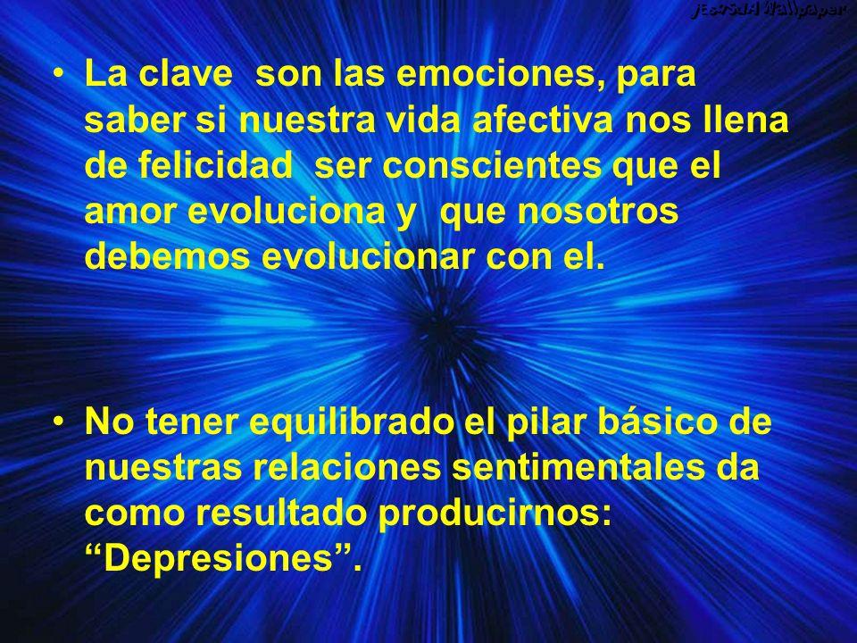 La clave son las emociones, para saber si nuestra vida afectiva nos llena de felicidad ser conscientes que el amor evoluciona y que nosotros debemos evolucionar con el.