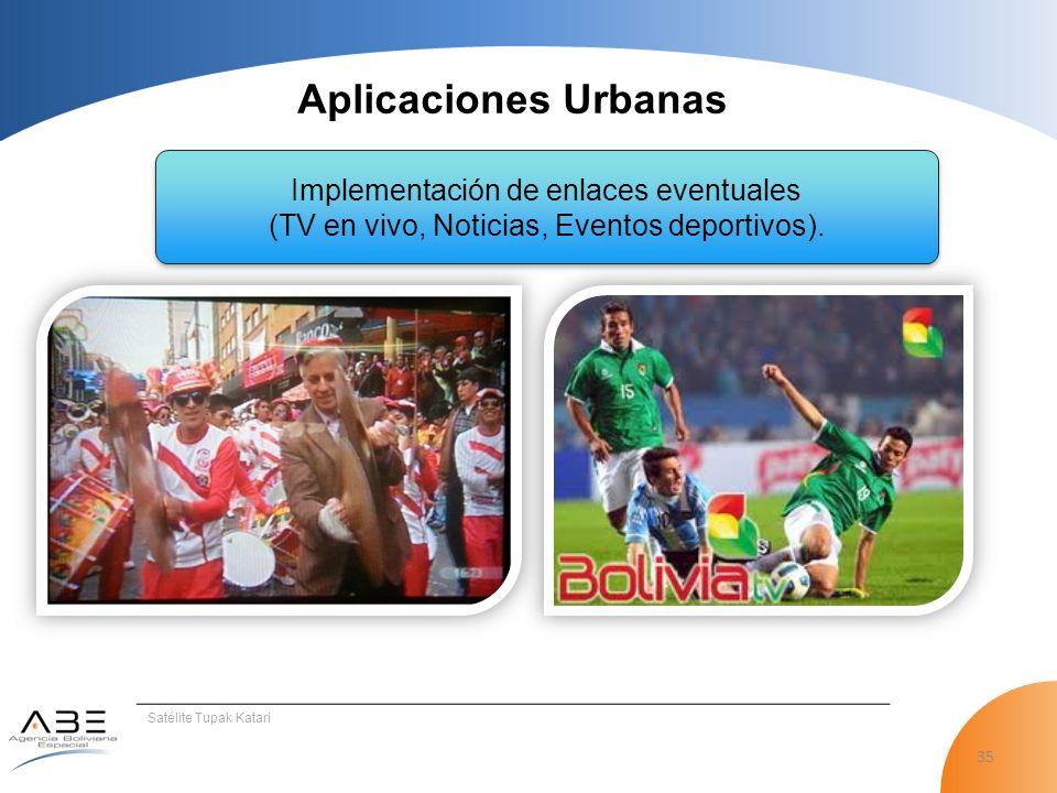 Aplicaciones Urbanas Implementación de enlaces eventuales