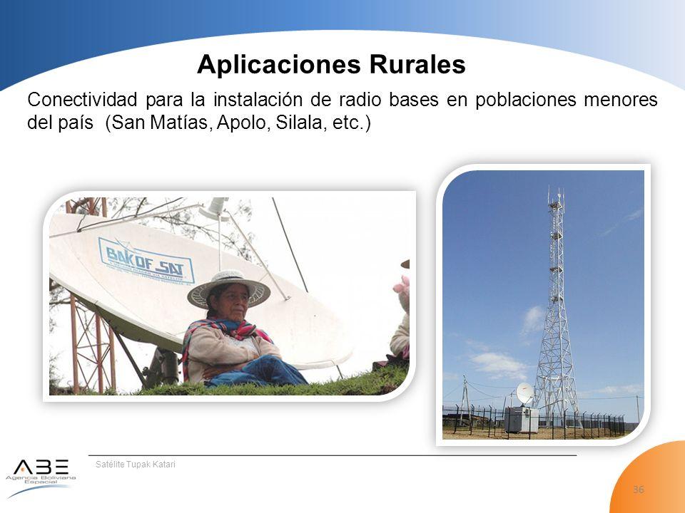 Aplicaciones Rurales Conectividad para la instalación de radio bases en poblaciones menores del país (San Matías, Apolo, Silala, etc.)