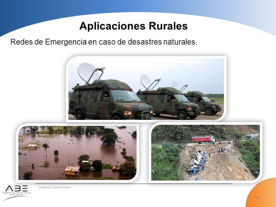 Aplicaciones Rurales Redes de Emergencia en caso de desastres naturales. Satélite Tupak Katari