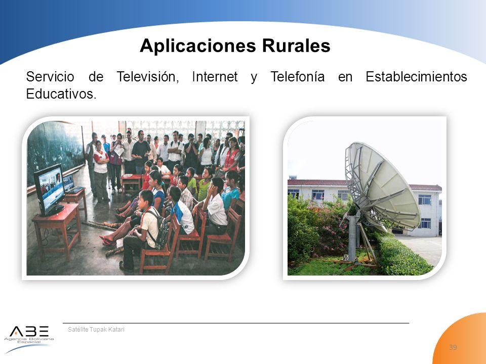 Aplicaciones Rurales Servicio de Televisión, Internet y Telefonía en Establecimientos Educativos.