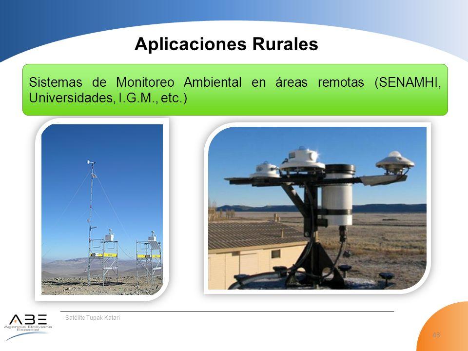 Aplicaciones Rurales Sistemas de Monitoreo Ambiental en áreas remotas (SENAMHI, Universidades, I.G.M., etc.)