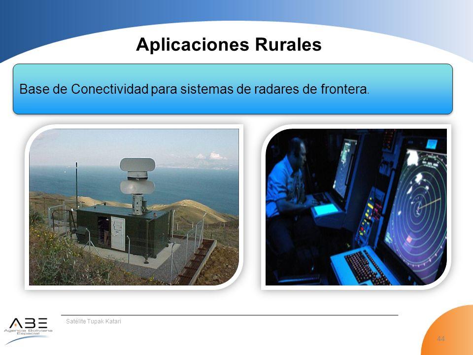 Aplicaciones Rurales Base de Conectividad para sistemas de radares de frontera.