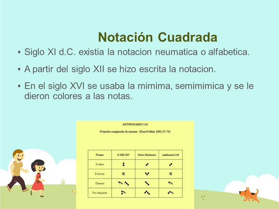 Notación Cuadrada Siglo XI d.C. existia la notacion neumatica o alfabetica. A partir del siglo XII se hizo escrita la notacion.