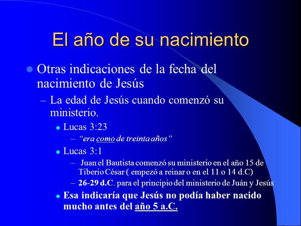 El año de su nacimiento Otras indicaciones de la fecha del nacimiento de Jesús. La edad de Jesús cuando comenzó su ministerio.