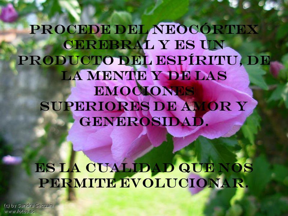 Procede del neocórtex cerebral y es un producto del espíritu, de la mente y de las emociones superiores de amor y generosidad.
