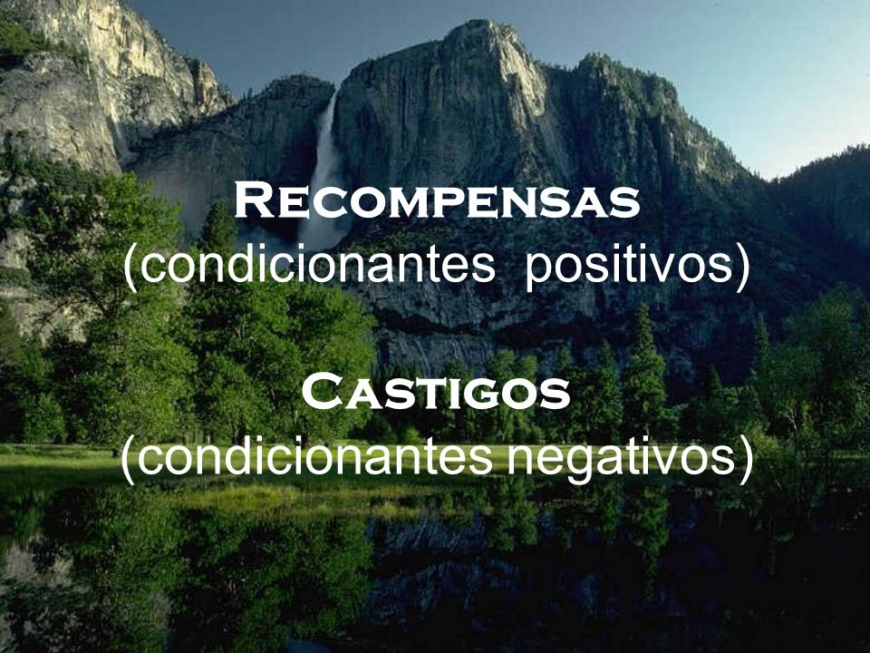 Recompensas (condicionantes positivos) Castigos (condicionantes negativos)