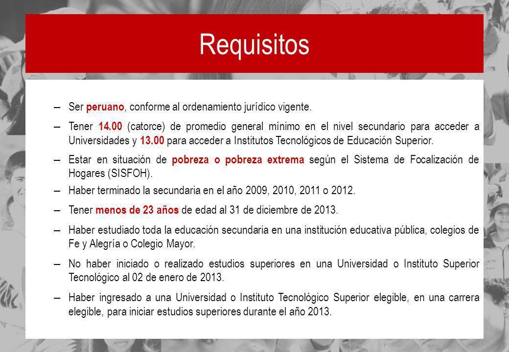 Requisitos Ser peruano, conforme al ordenamiento jurídico vigente.