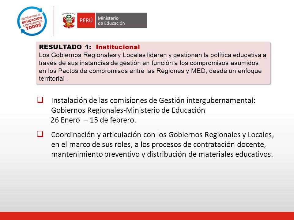 RESULTADO 1: Institucional Los Gobiernos Regionales y Locales lideran y gestionan la política educativa a través de sus instancias de gestión en función a los compromisos asumidos en los Pactos de compromisos entre las Regiones y MED, desde un enfoque territorial .