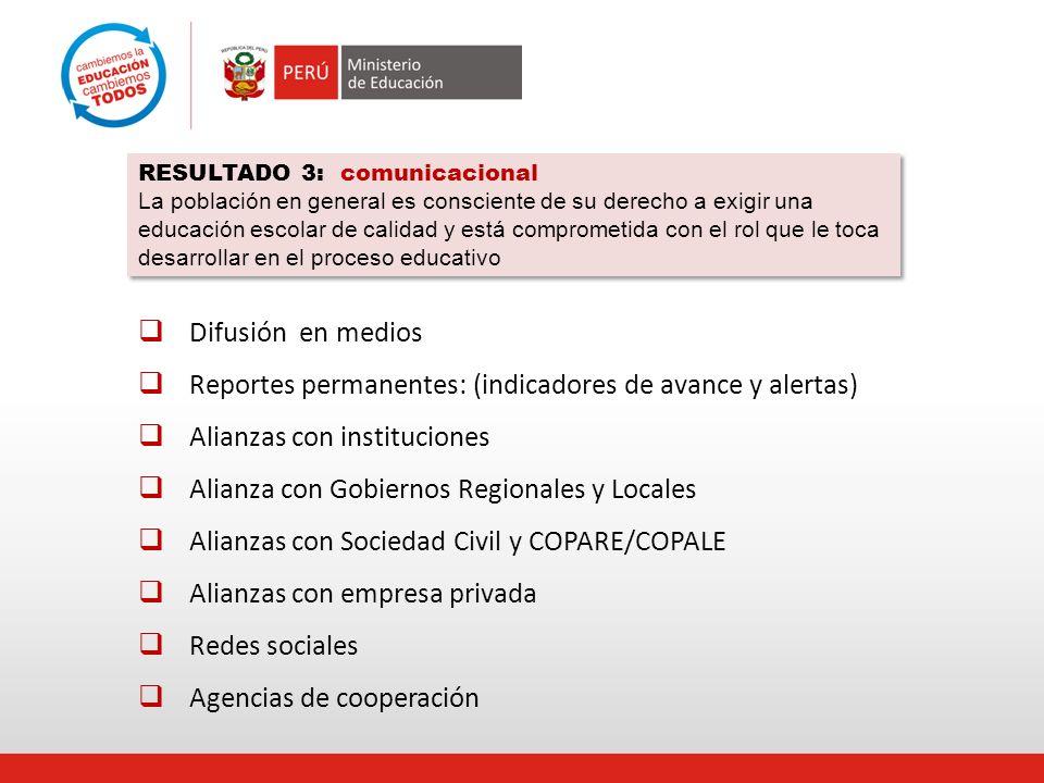 Reportes permanentes: (indicadores de avance y alertas)
