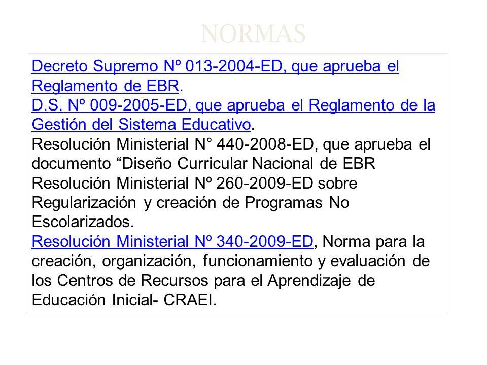 NORMAS Decreto Supremo Nº 013-2004-ED, que aprueba el Reglamento de EBR.
