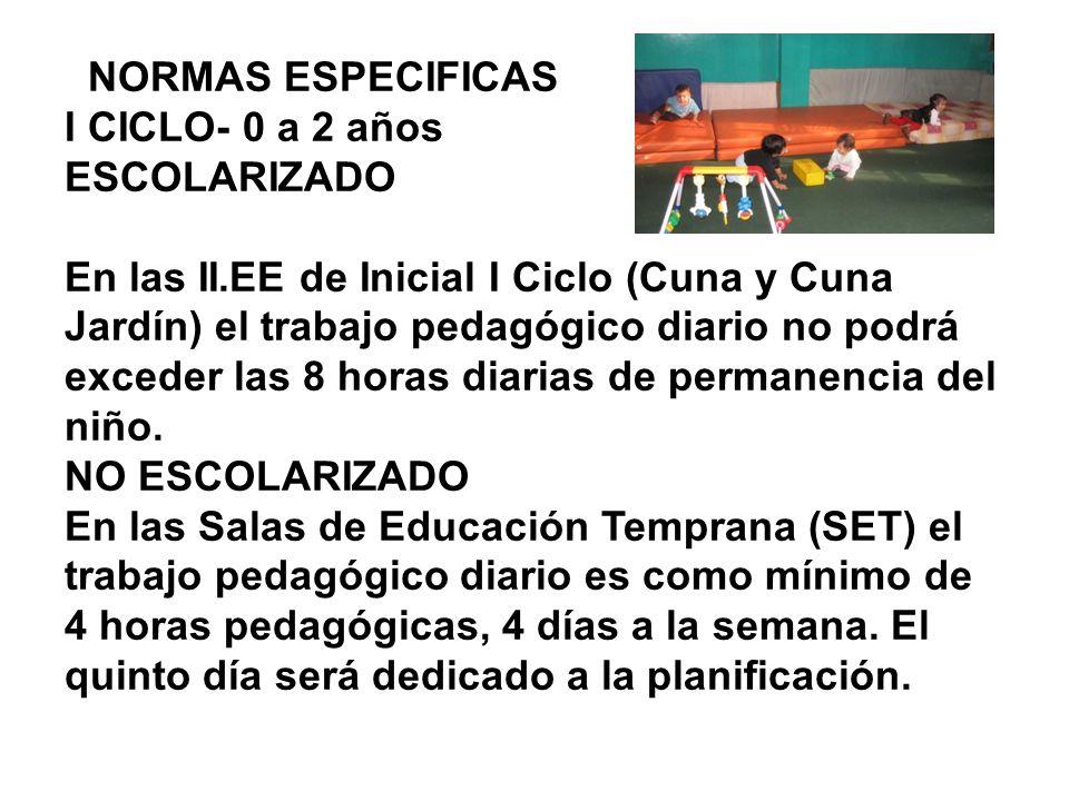 NORMAS ESPECIFICAS I CICLO- 0 a 2 años ESCOLARIZADO En las II