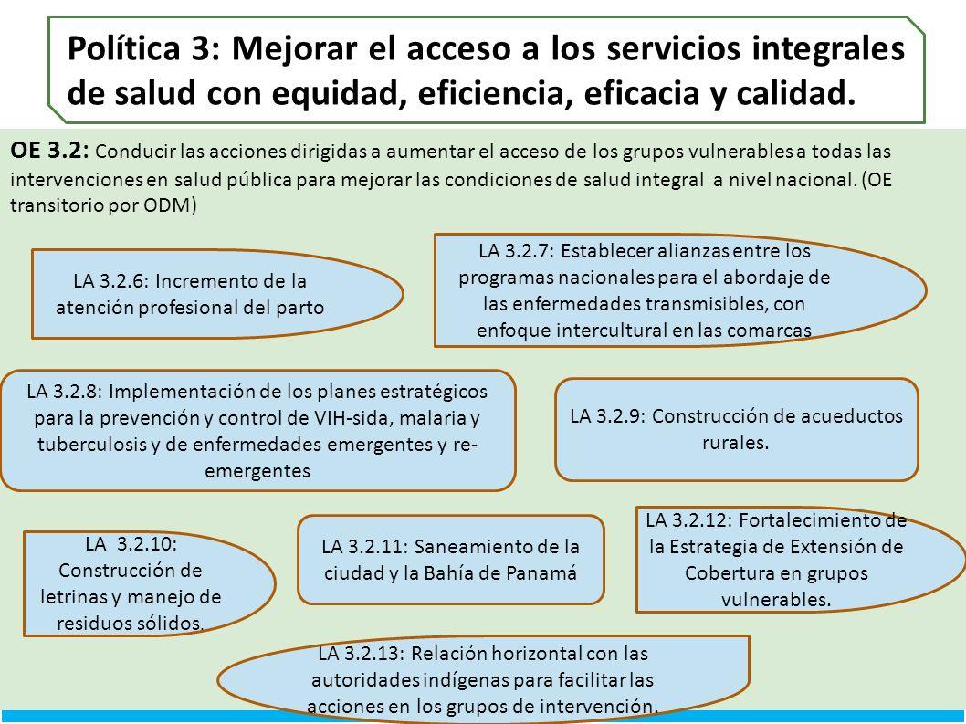Política 3: Mejorar el acceso a los servicios integrales de salud con equidad, eficiencia, eficacia y calidad.