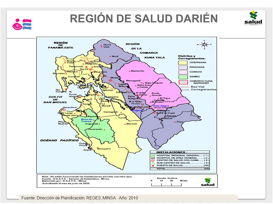 REGIÓN DE SALUD DARIÉN Fuente: Dirección de Planificación, REGES, MINSA. Año: 2010