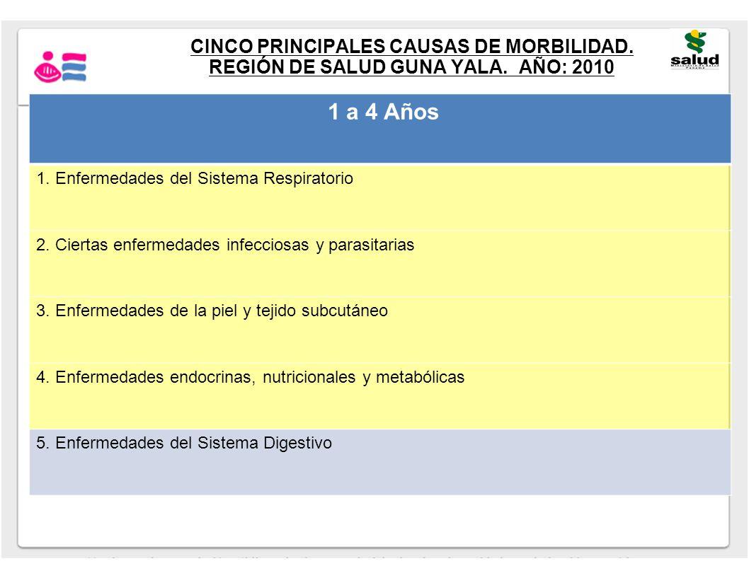 CINCO PRINCIPALES CAUSAS DE MORBILIDAD. REGIÓN DE SALUD GUNA YALA