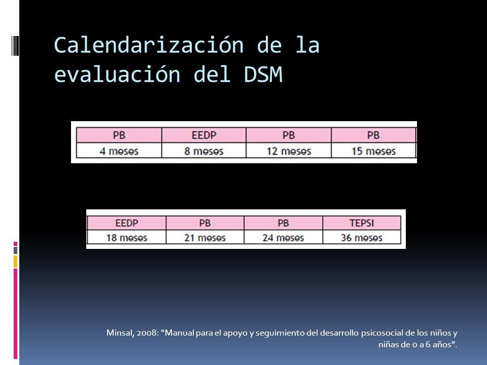 Calendarización de la evaluación del DSM