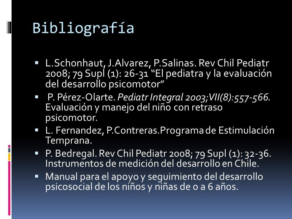 Bibliografía L.Schonhaut, J.Alvarez, P.Salinas. Rev Chil Pediatr 2008; 79 Supl (1): 26-31 El pediatra y la evaluación del desarrollo psicomotor
