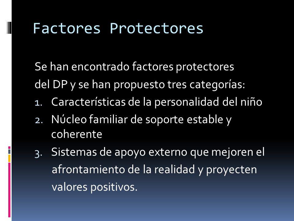 Factores Protectores Se han encontrado factores protectores