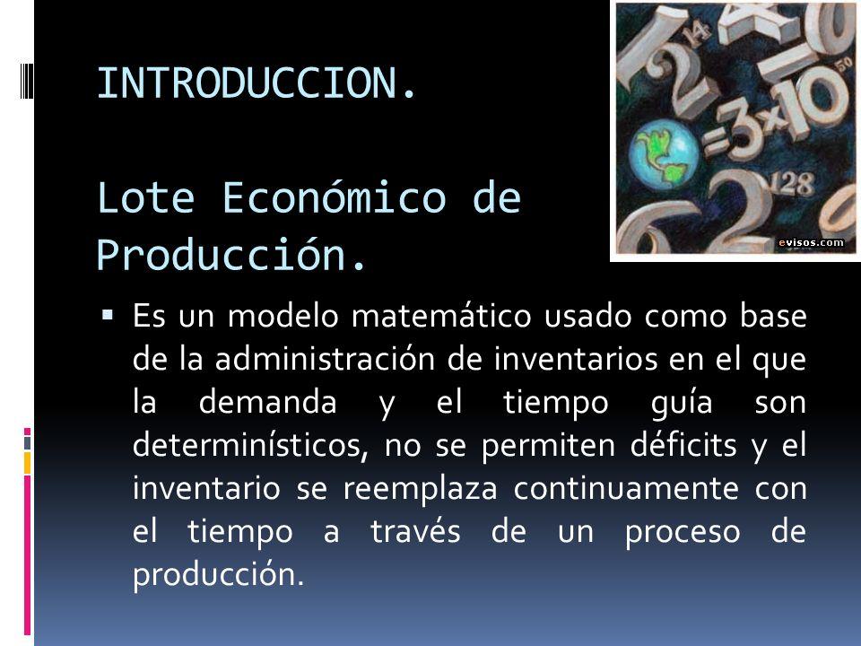 INTRODUCCION. Lote Económico de Producción.