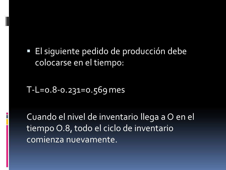 El siguiente pedido de producción debe colocarse en el tiempo: