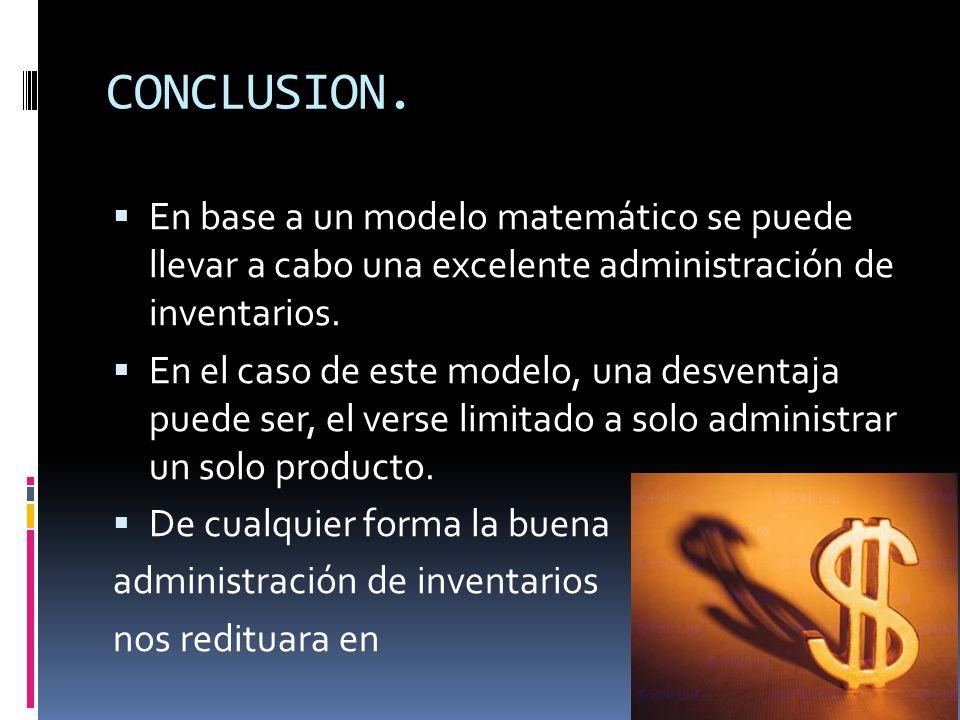 CONCLUSION. En base a un modelo matemático se puede llevar a cabo una excelente administración de inventarios.