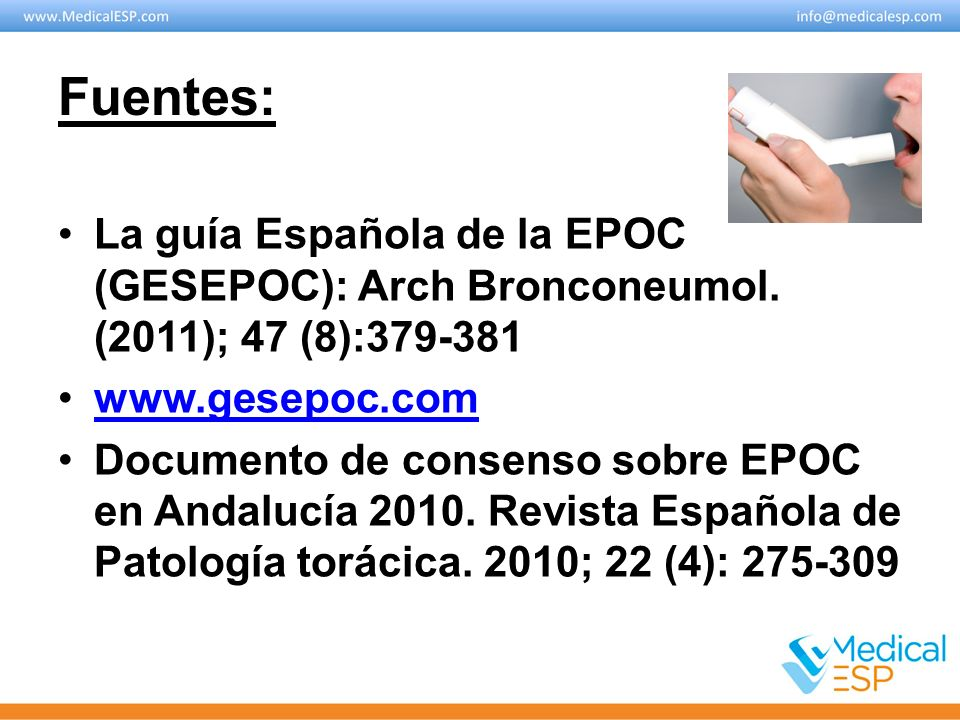 Fuentes: La guía Española de la EPOC (GESEPOC): Arch Bronconeumol. (2011); 47 (8):379-381. www.gesepoc.com.