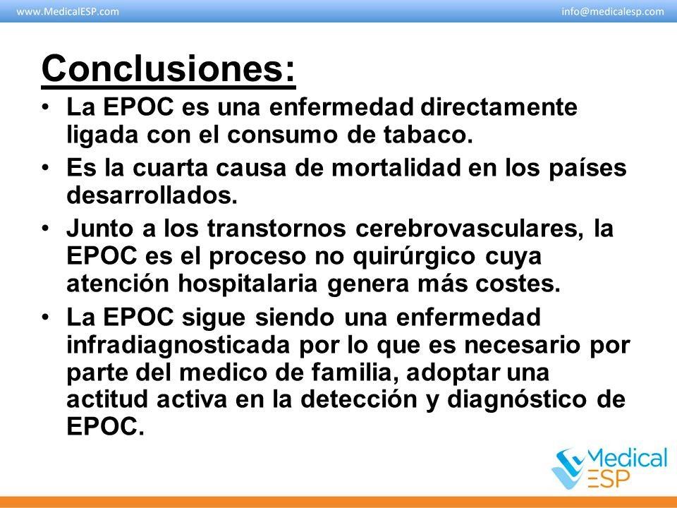 Conclusiones: La EPOC es una enfermedad directamente ligada con el consumo de tabaco. Es la cuarta causa de mortalidad en los países desarrollados.