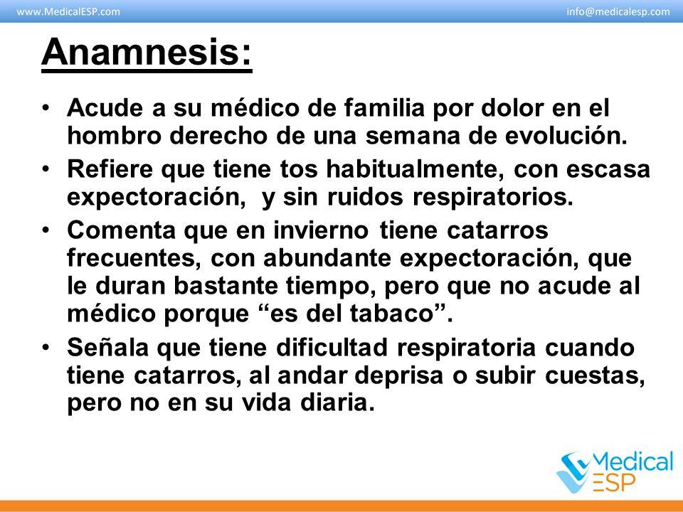 Anamnesis: Acude a su médico de familia por dolor en el hombro derecho de una semana de evolución.