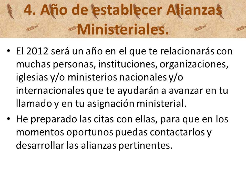 4. Año de establecer Alianzas Ministeriales.