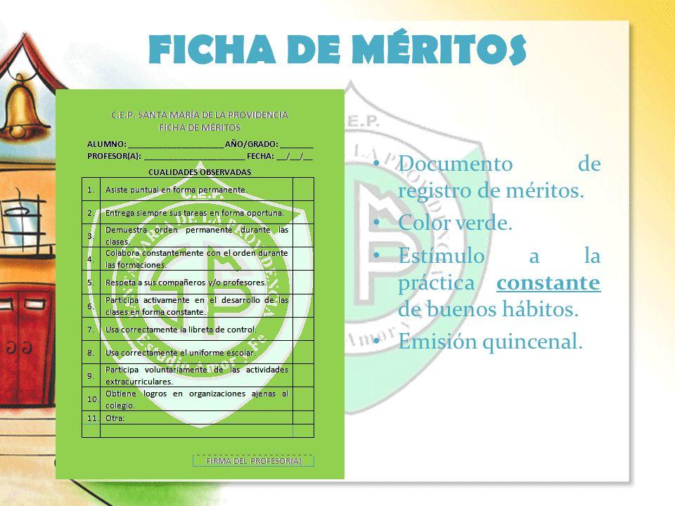 FICHA DE MÉRITOS Documento de registro de méritos. Color verde.