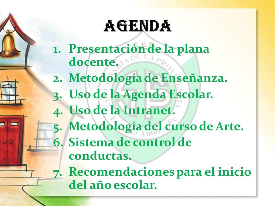 AGENDA Presentación de la plana docente. Metodología de Enseñanza.