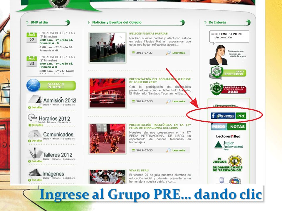 Ingrese al Grupo PRE… dando clic