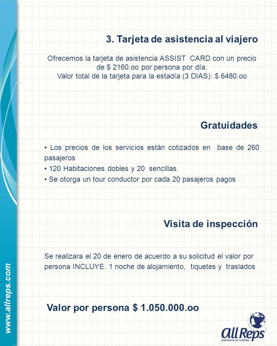 3. Tarjeta de asistencia al viajero