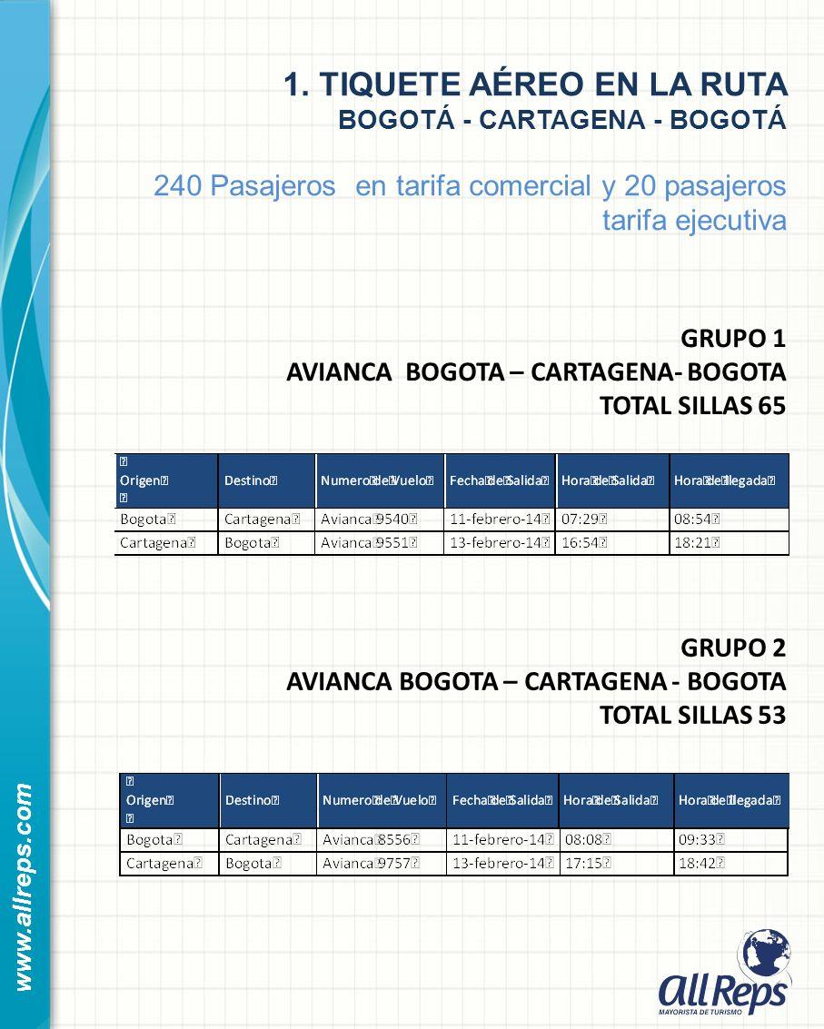 1. TIQUETE AÉREO EN LA RUTA BOGOTÁ - CARTAGENA - BOGOTÁ 240 Pasajeros en tarifa comercial y 20 pasajeros tarifa ejecutiva