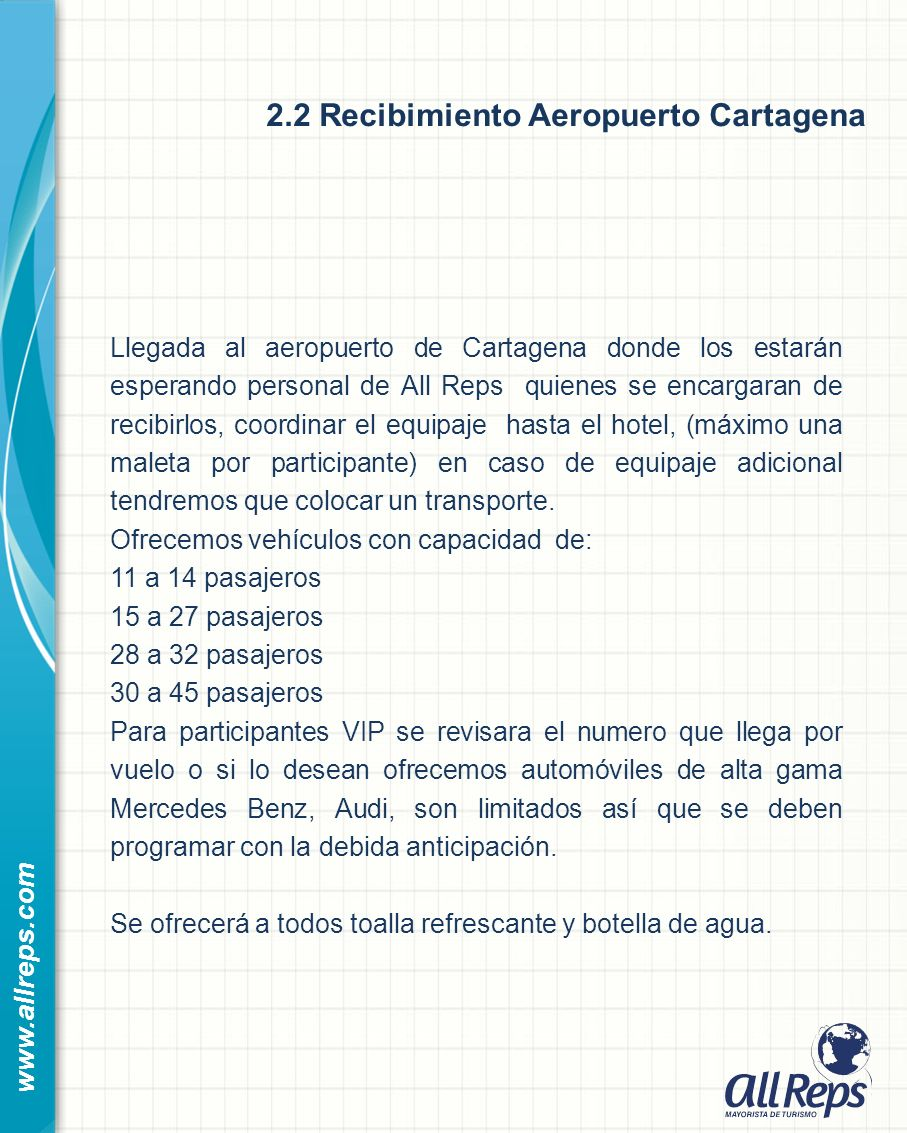 2.2 Recibimiento Aeropuerto Cartagena